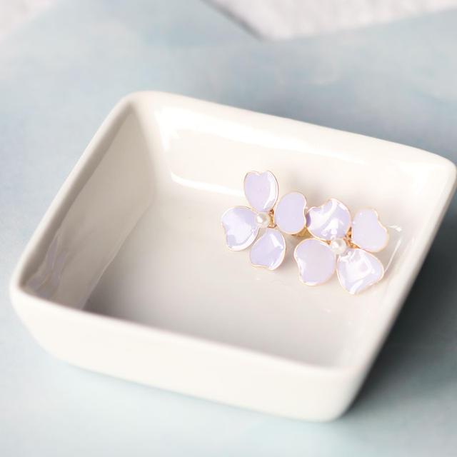 【Set】Polka Dots Pierces & Lavender-Colored Flower Pierces