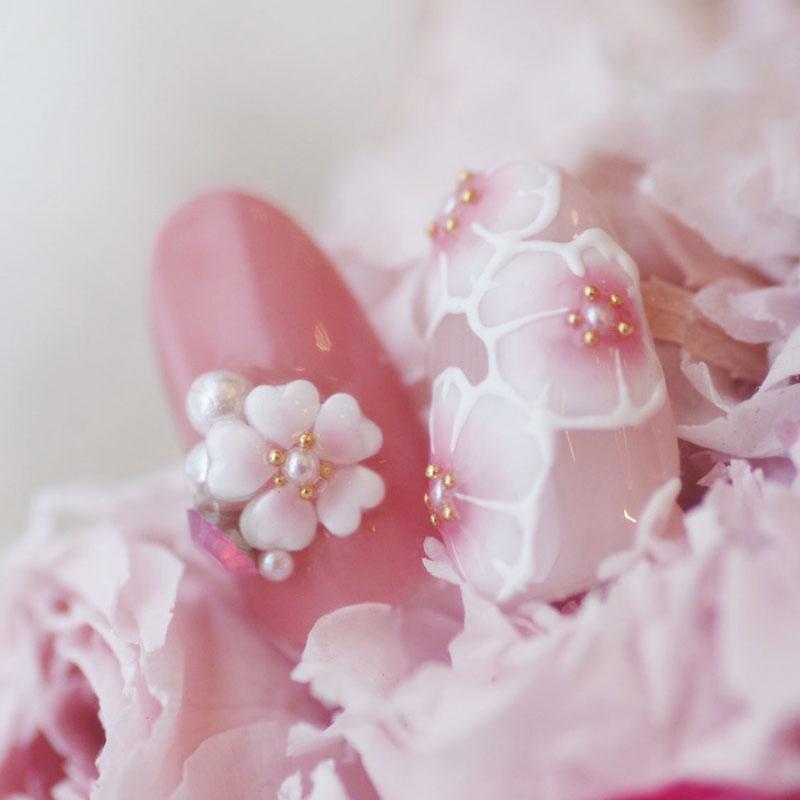 桜ペイント&桜ビジュー
