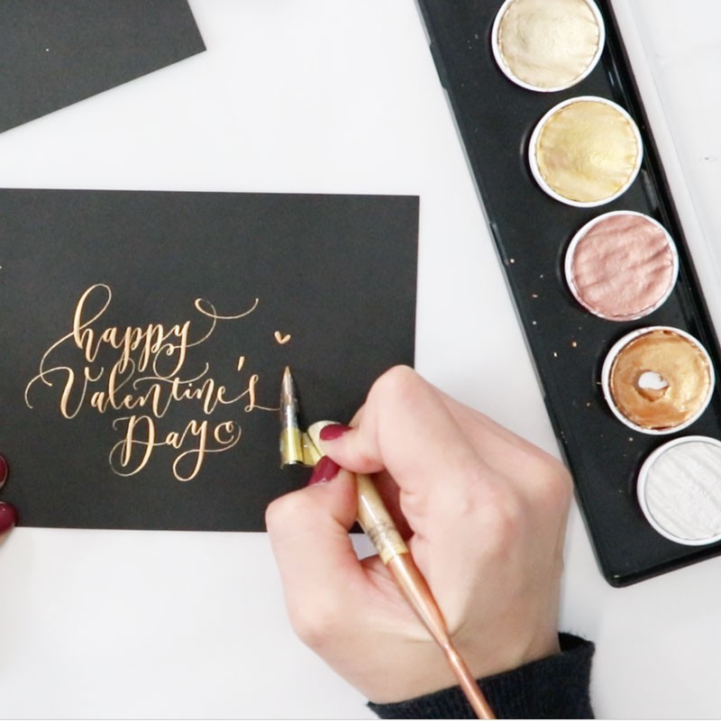 Pointed-Pen Modern Calligraphy: Valentine's Day Card