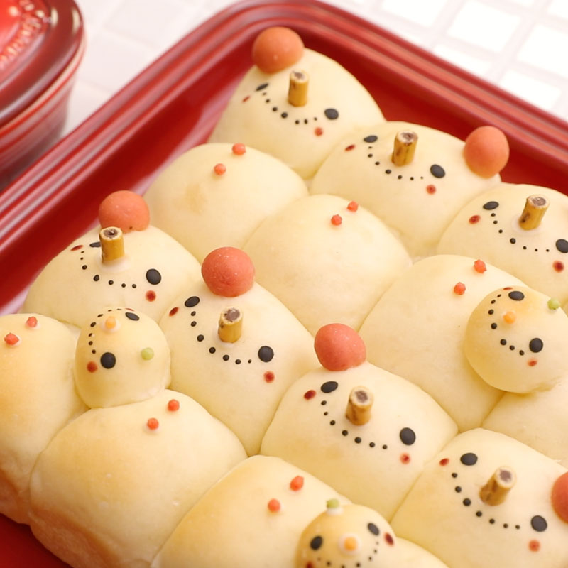 Snowman Tear and Share Bread, Kinda 3-D with Sweet Decorations