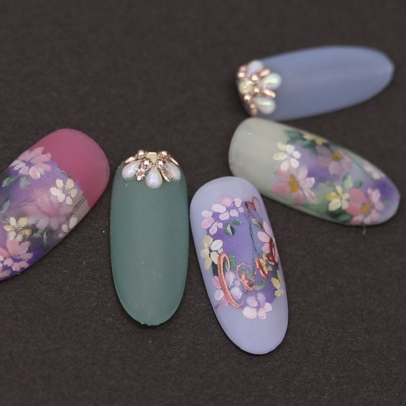 Matte Oil Painting Nail Art
