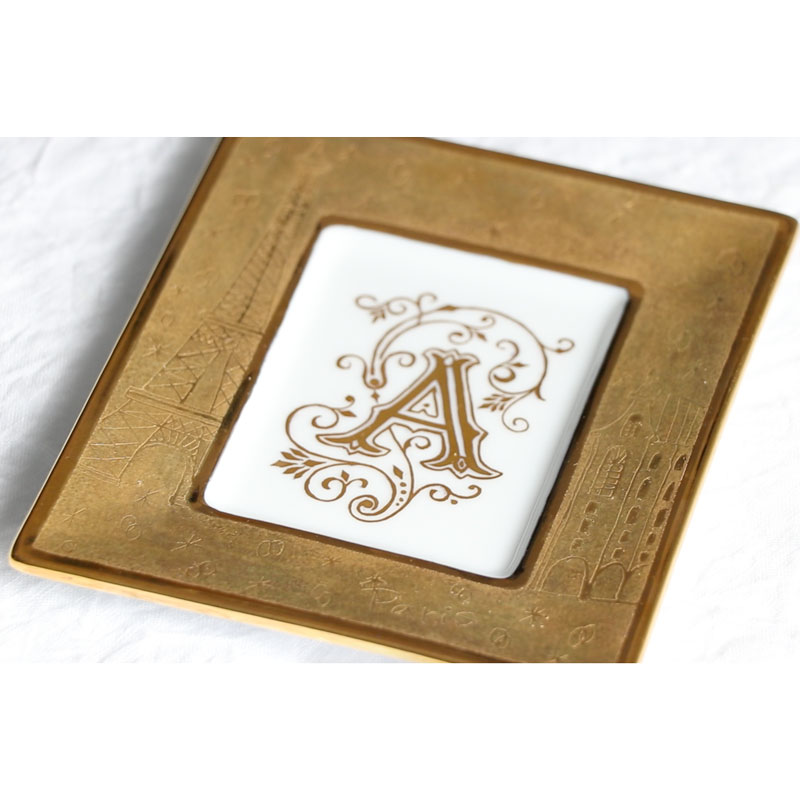 Mini Frame Made with Gold Luster and an Initial