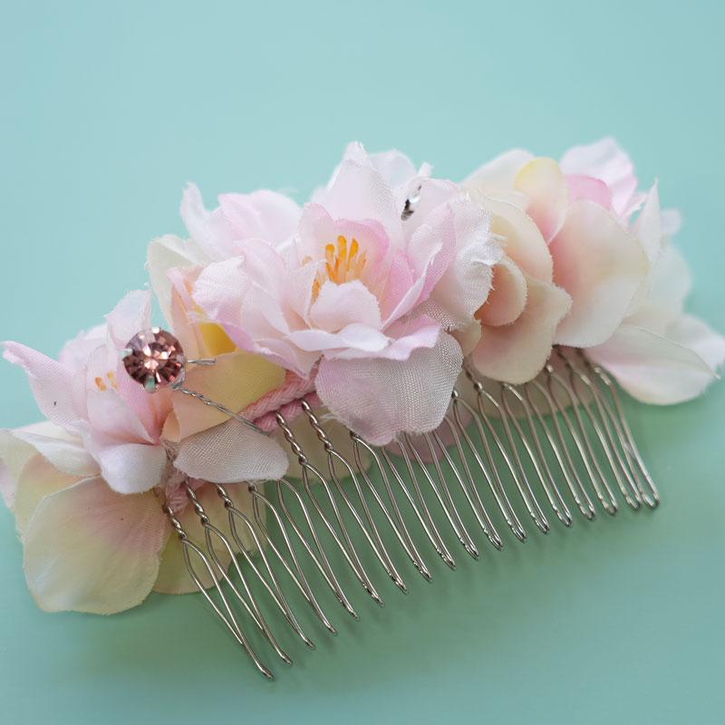 アーティフィシャルフラワーで作るUピンタイプの髪飾り