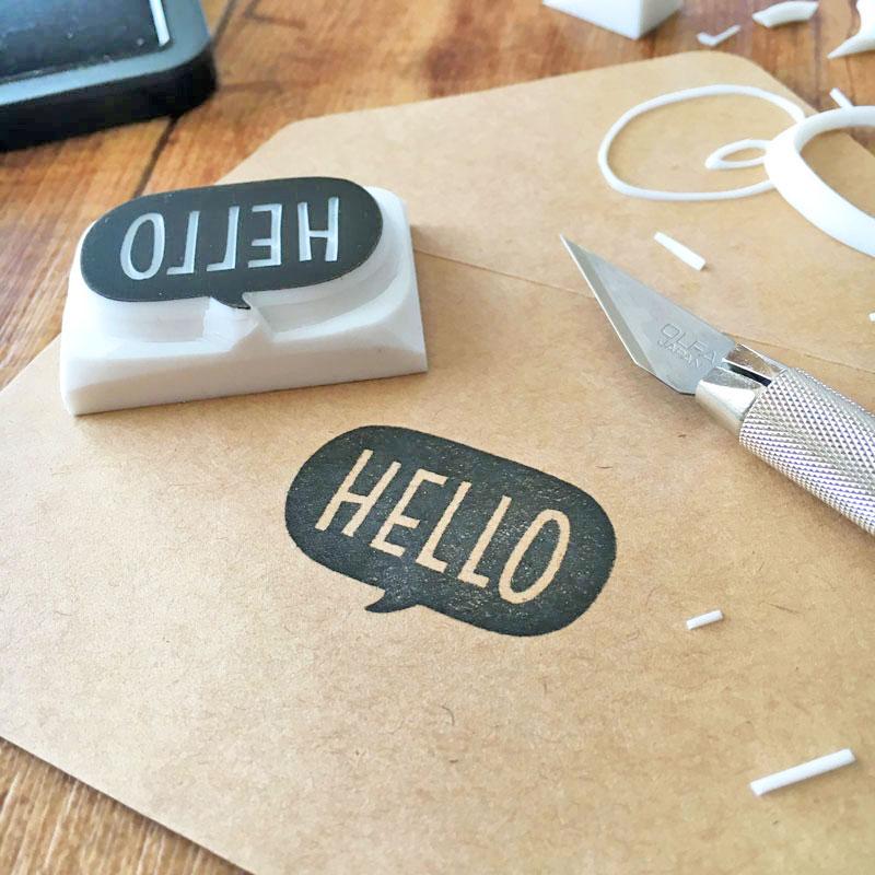 「HELLO」スタンプの彫り方