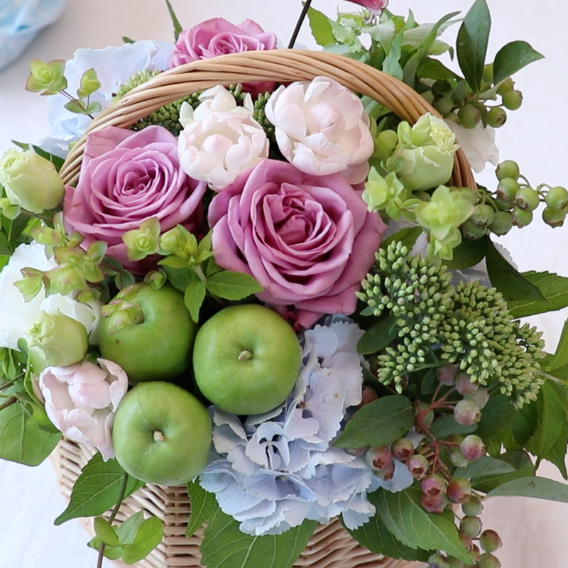 Flower Basket with Apples and Blueberries