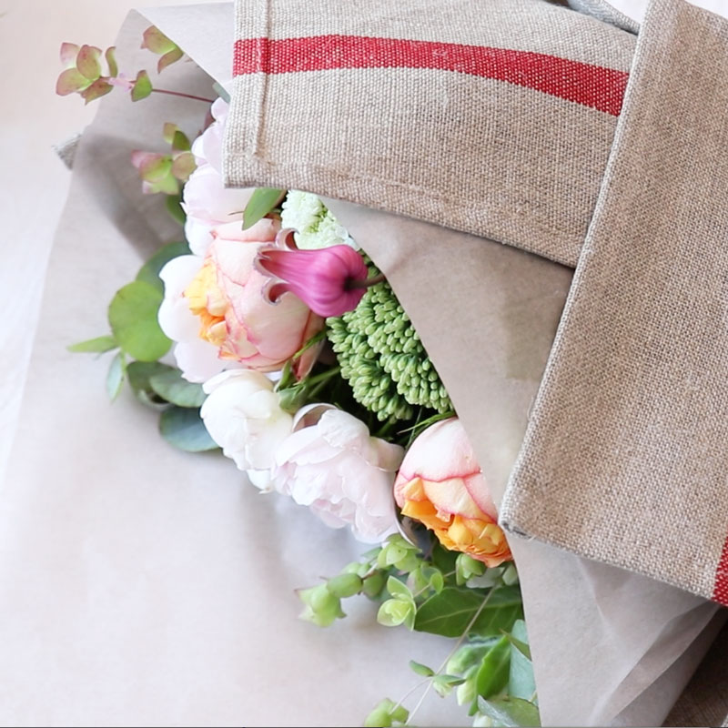Flower Wrapping with Kitchen Cloth