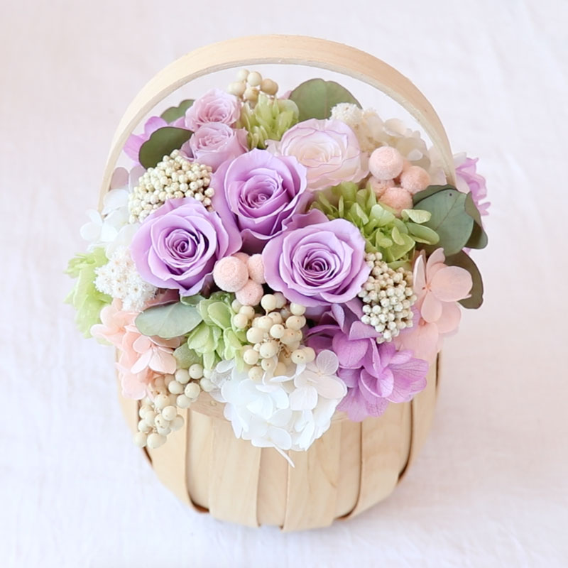 Flower Basket with Preserved Flowers