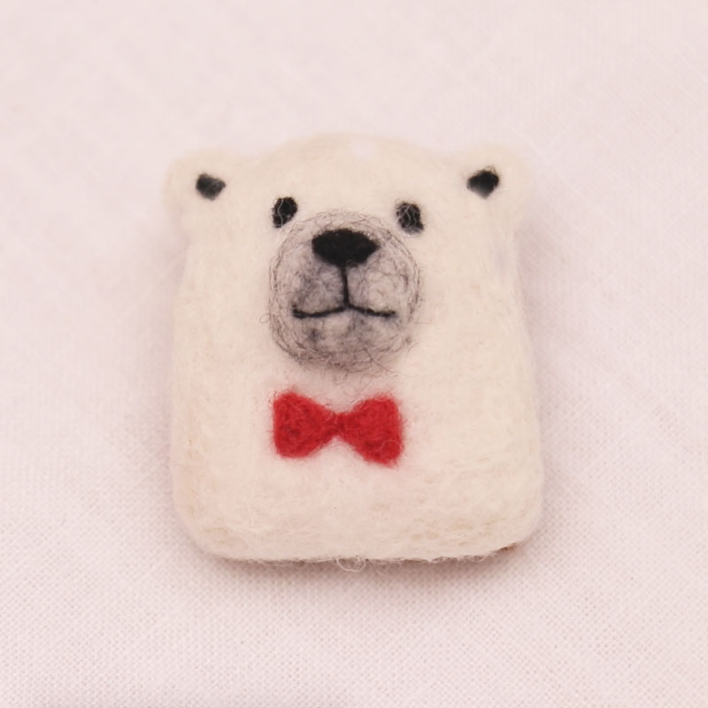 Polar Bear Face Brooch