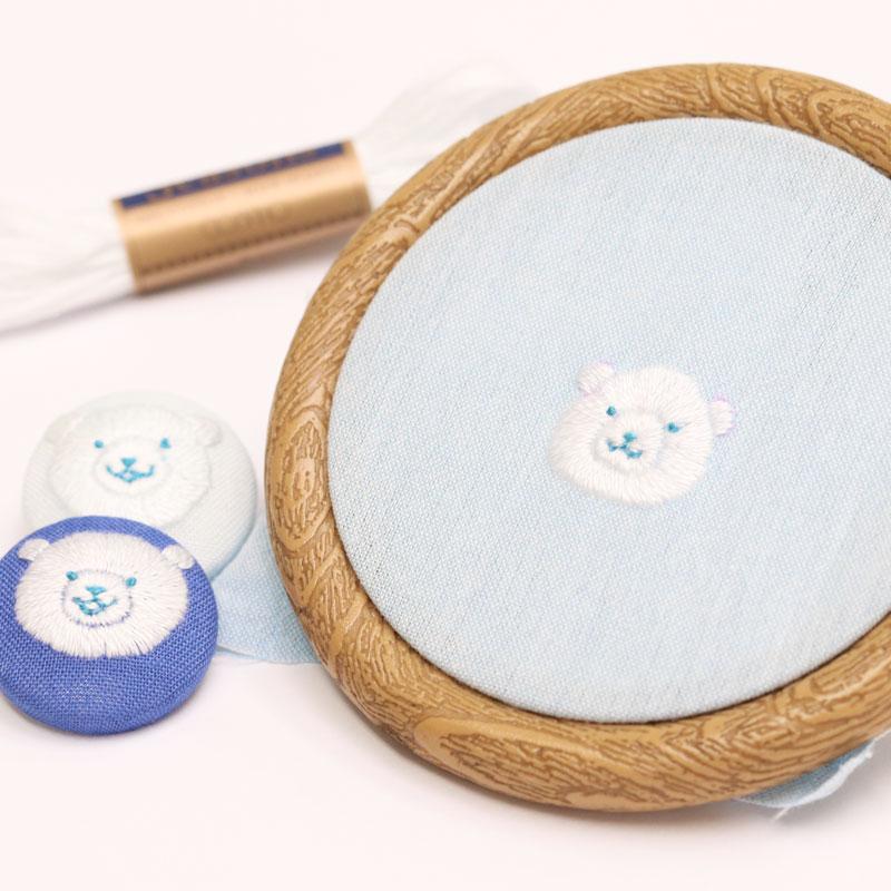 シロクマのお顔刺繍