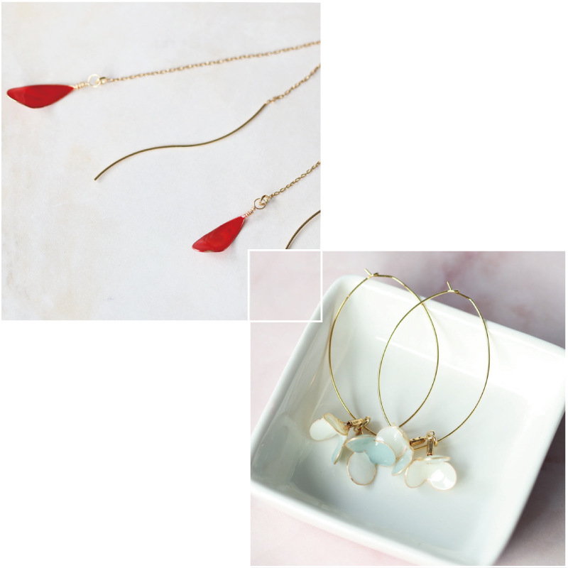 【Set】Teardrop Pierces & Flower Hoop Pierces