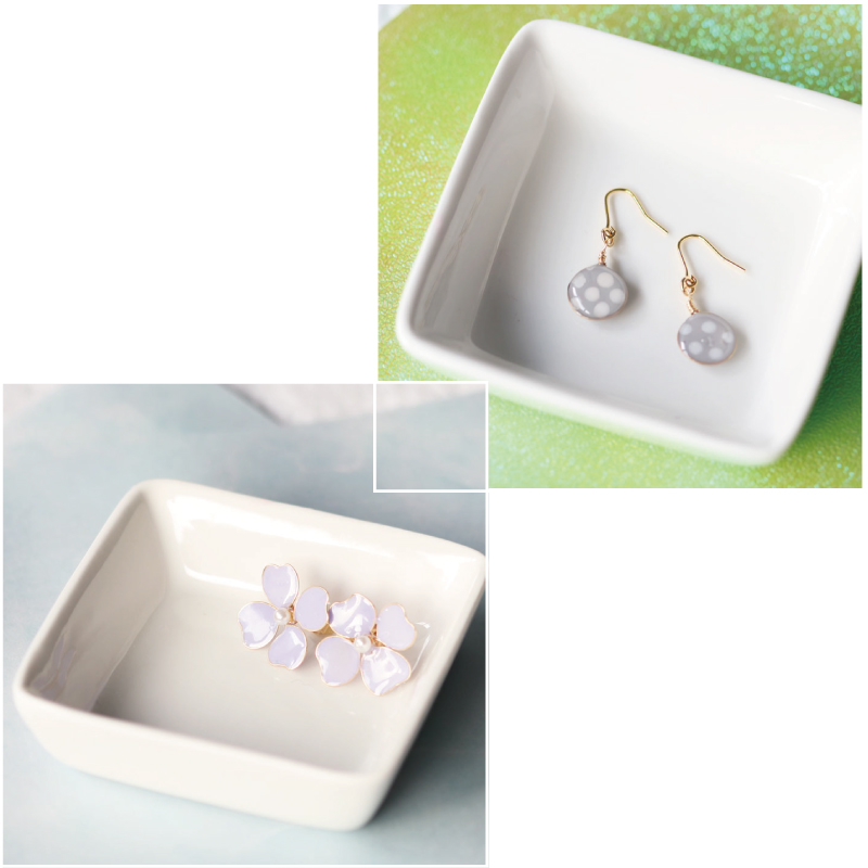 【Set】Polka-dot Earrings and Lavender-Colored Flower Earrings of Nail Polish Flowers