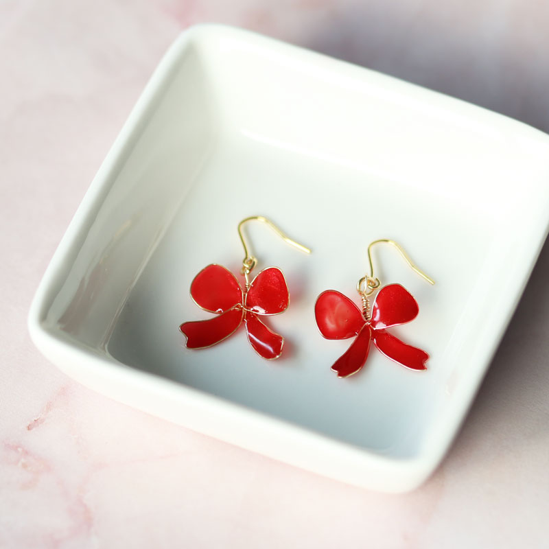 【Advanced】 Ribbon Bow Earrings of Nail Polish Flowers