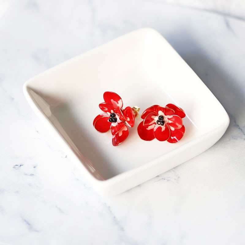 【Advanced】 Anemone Earrings of Nail Polish Flowers