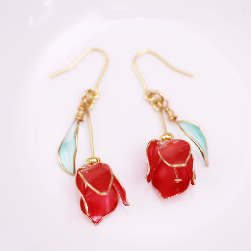 Tulip Earrings of Nail Polish Flowers