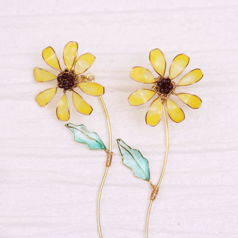 Sunflower Earrings of Nail Polish Flowers