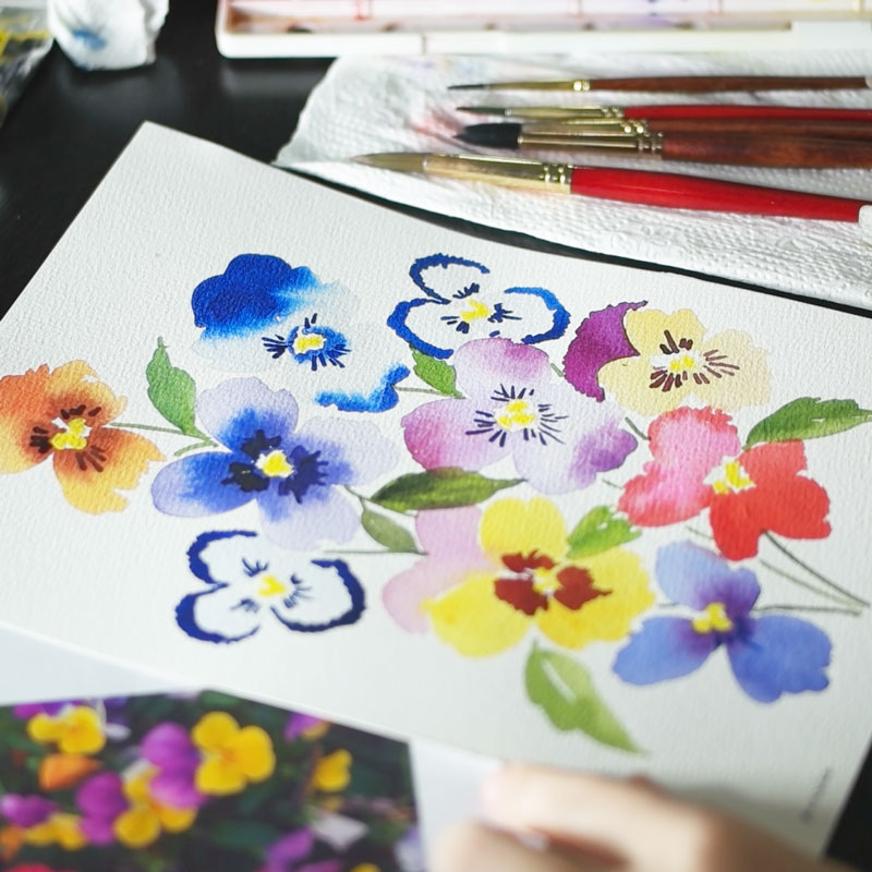 Painting Pansies with Watercolor
