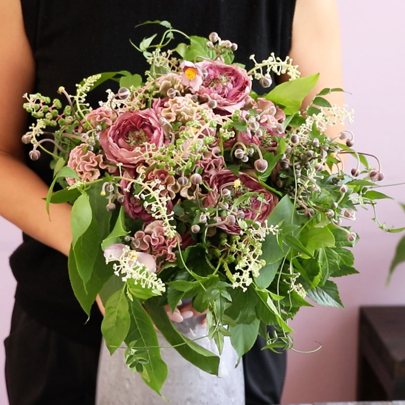 Mallow's at Home -Bouquet of Roses and Pokeweed-