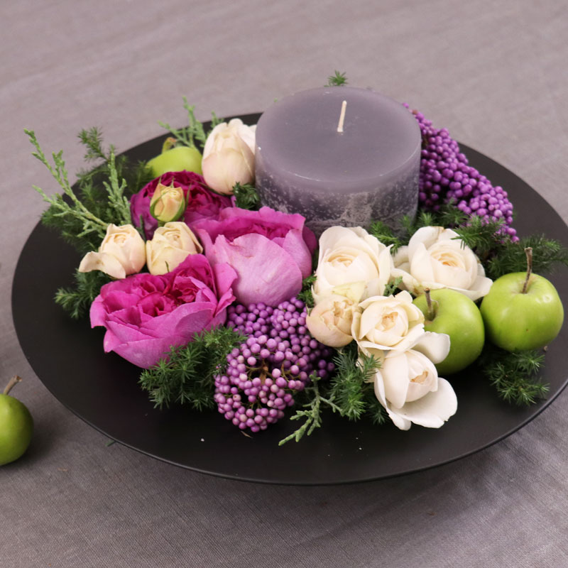 Flower Arrangement Lesson - Winter Candle Arrangement-