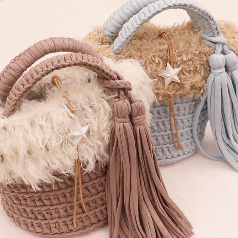 只需編織就能完成 皮草裝飾市場包