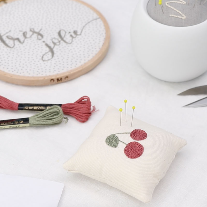 Cherry Pincushion with 2 Stitching Techniques