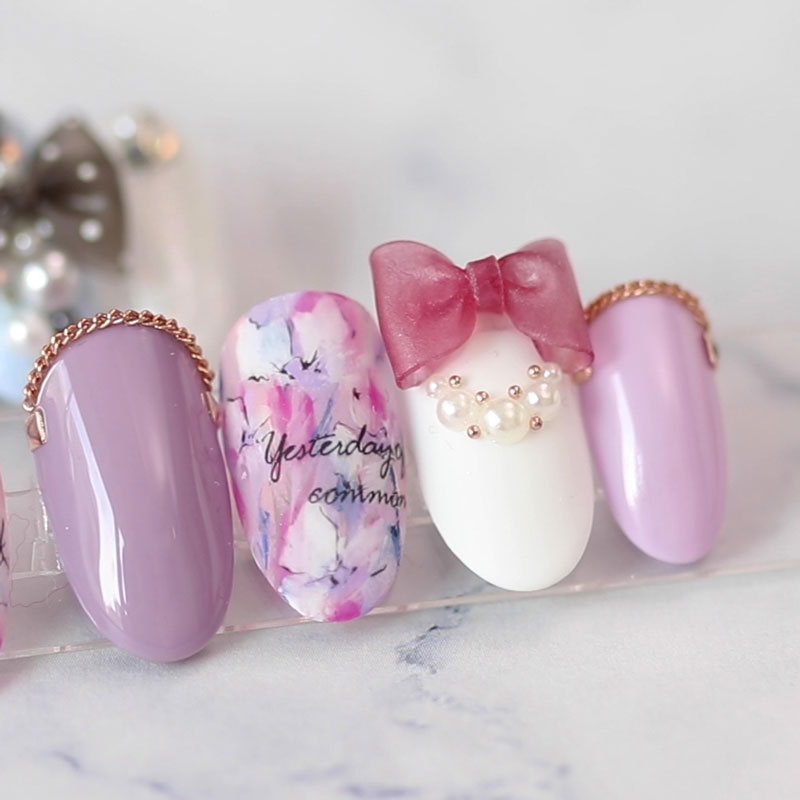 【Diploma Available】Cute Ribbon Nail Art
