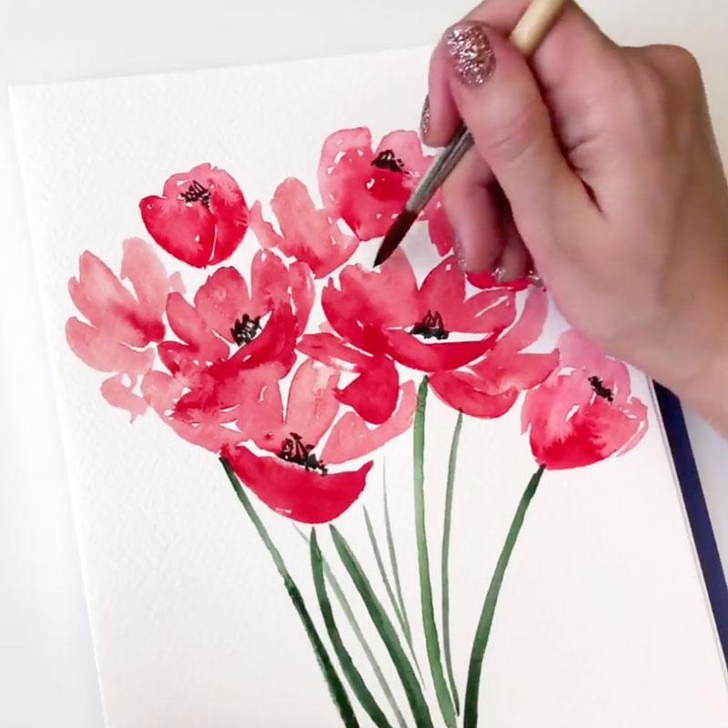 水彩畫:蓬鬆花朵