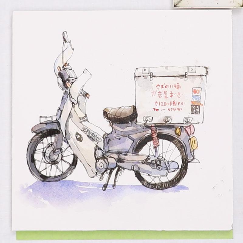 用钢笔及水彩纪录生活与居住的城市 摩托车