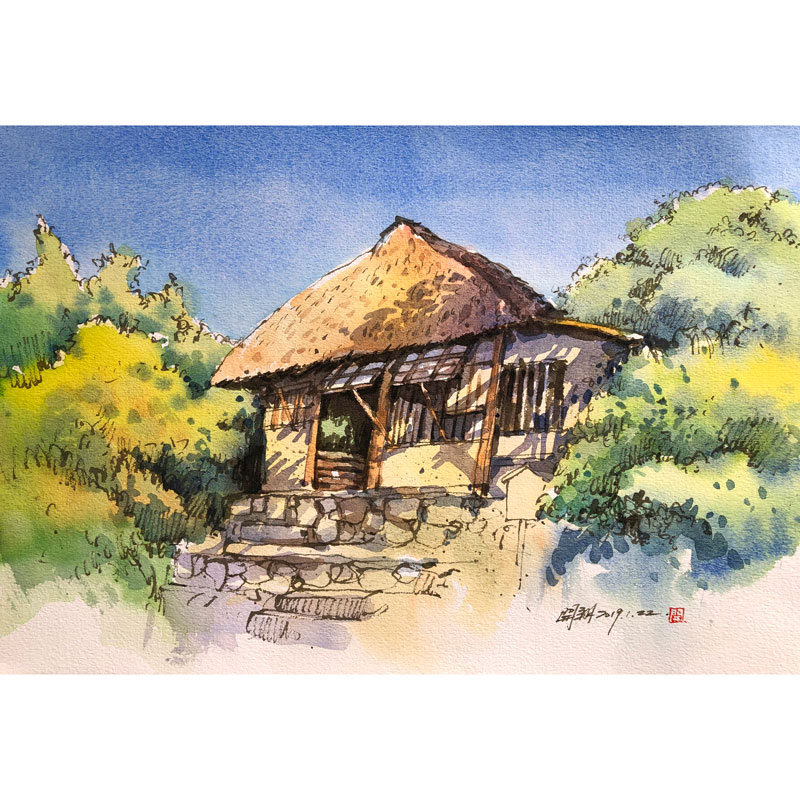 用钢笔和水彩绘制稻草葺房顶