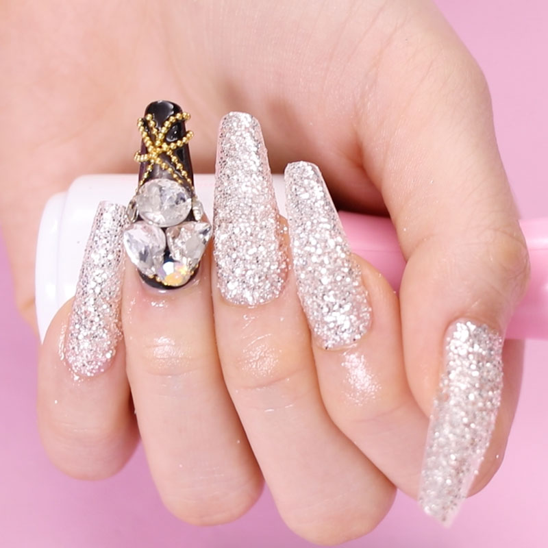 Glitter Ombre with Rhinestone and Charm