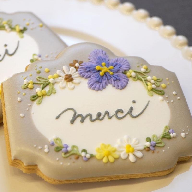 Message Card Style Icing Cookie with Floral Decorations