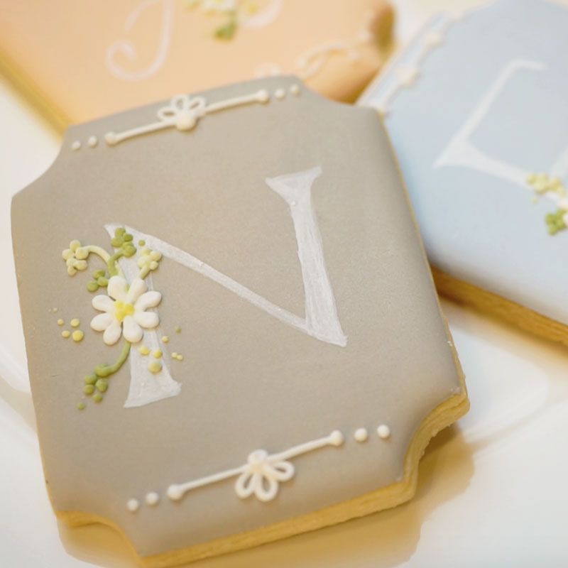 Icing Cookies with Floral Initials