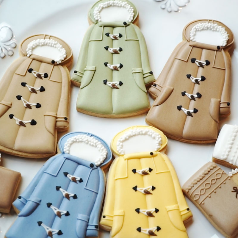 Duffle Coat and Knit Tote Bag Sugar Cookies