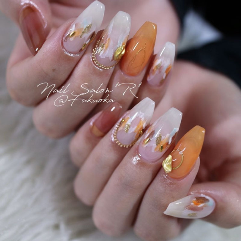 Orange Dotted Nails