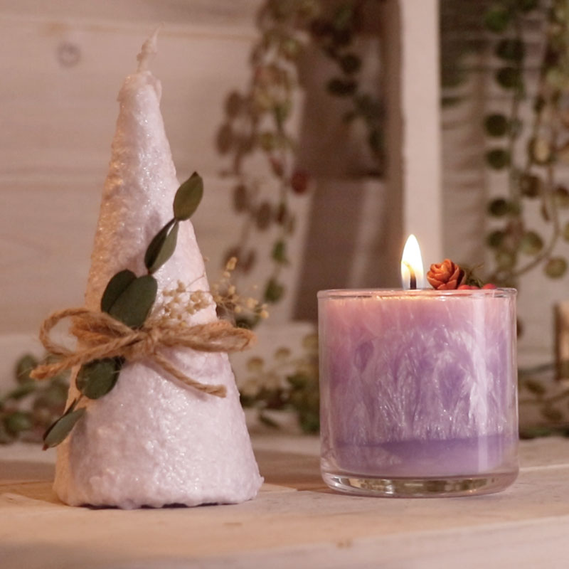2 Kinds of Palm Wax Christmas Tree Candles