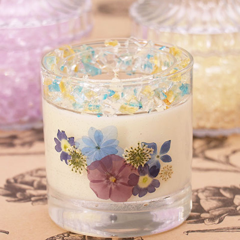 Pressed Flower Glass Candle