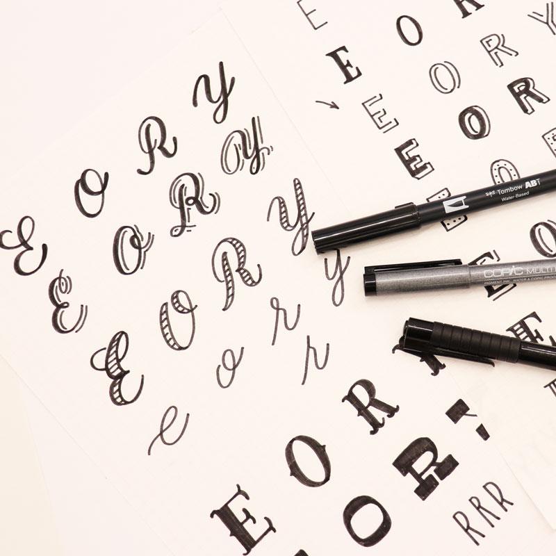 ハンドレタリング 文字のアレンジバリエーション