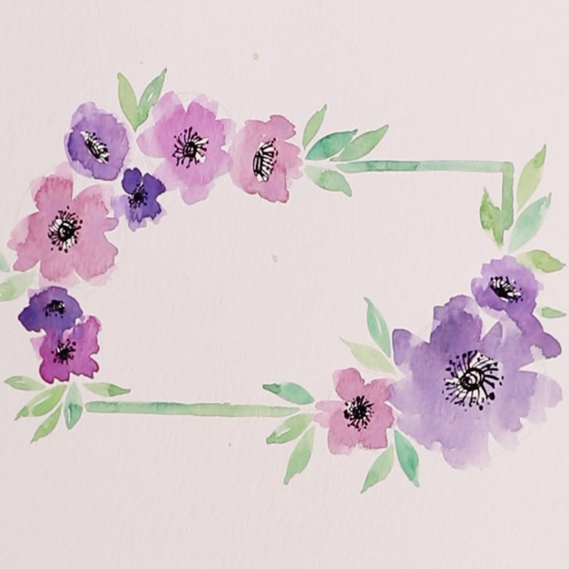 Watercolor Florals: Flower Wreath