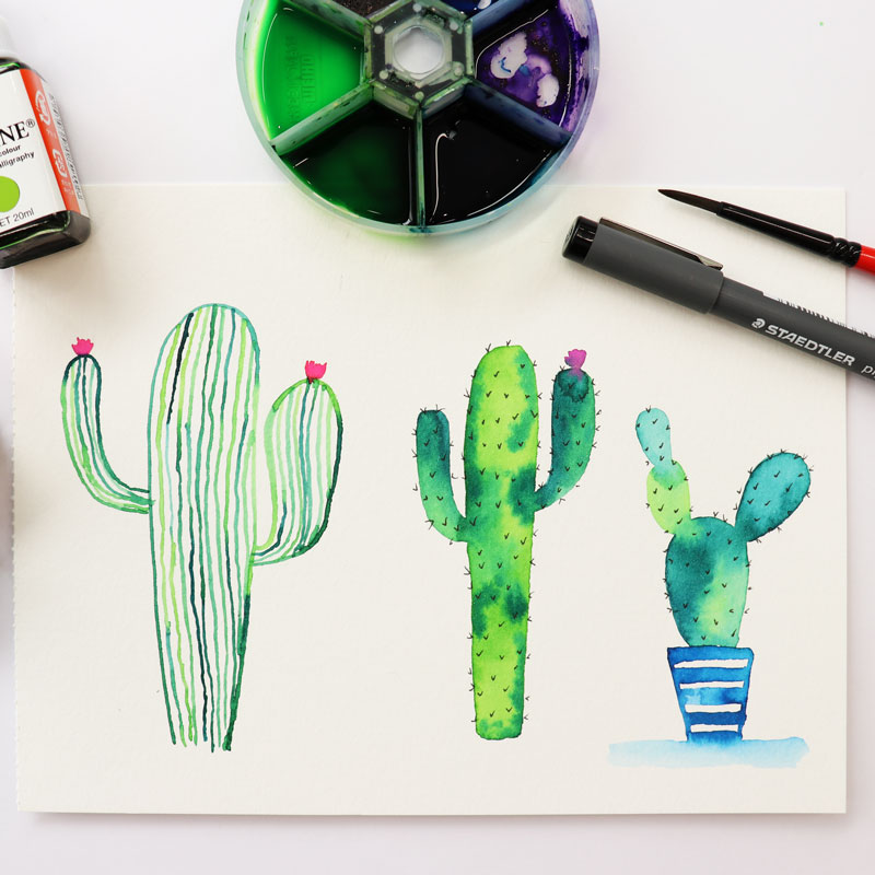 Watercolor Lettering: Succulents