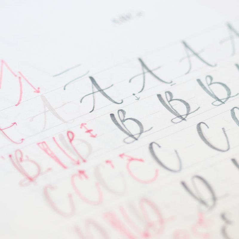 「筆之助」を使ったレタリング 大文字