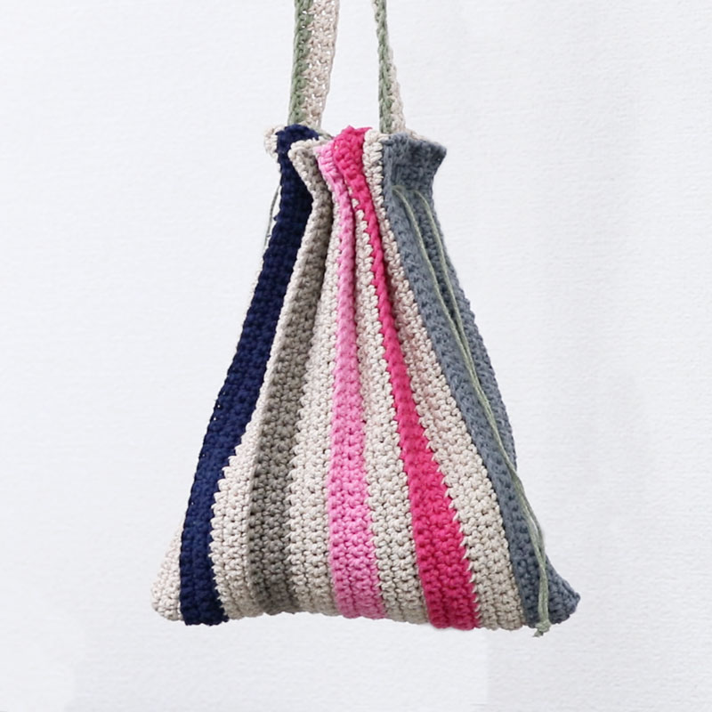 Knitted Stripe Pouch Bag