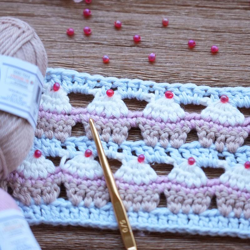 カップケーキ模様の編み方